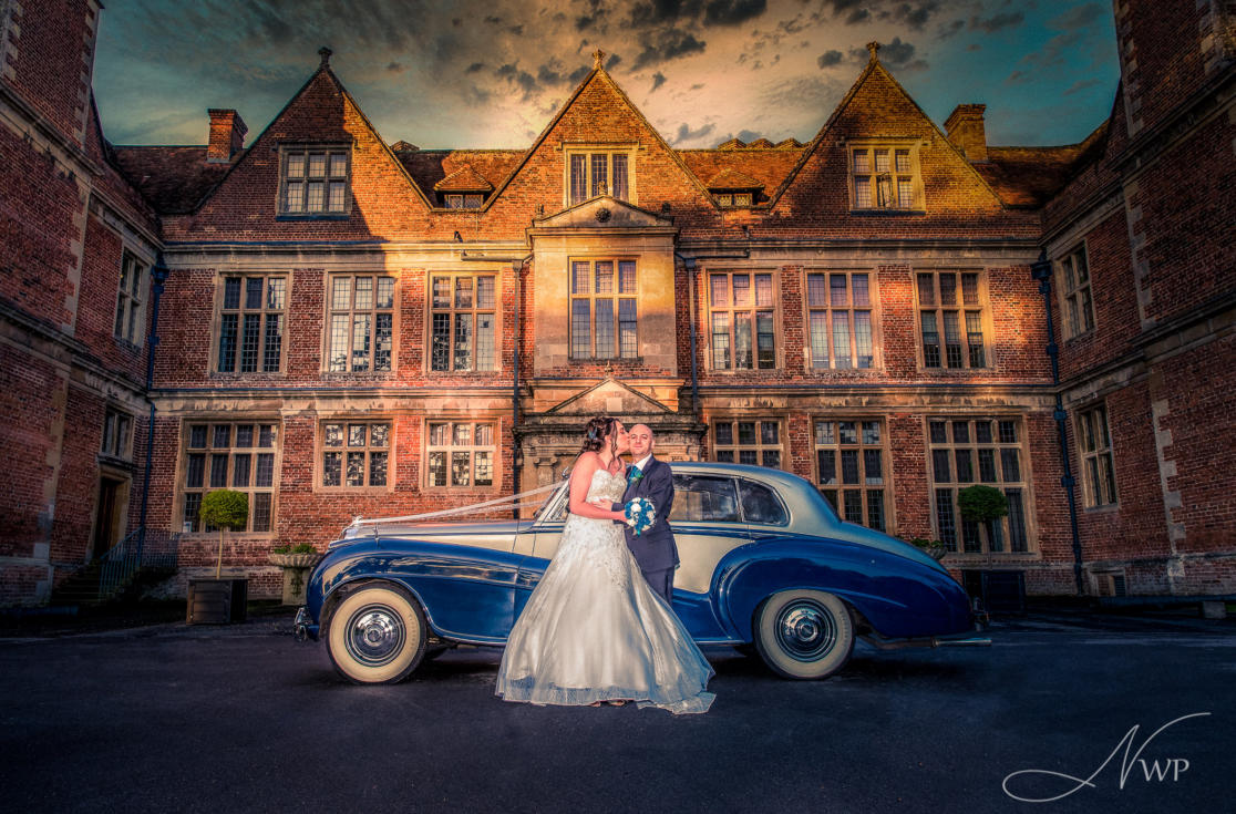 Fine art wedding photography at Shaw House by Newbury Wedding Photographer with vintage Bentley